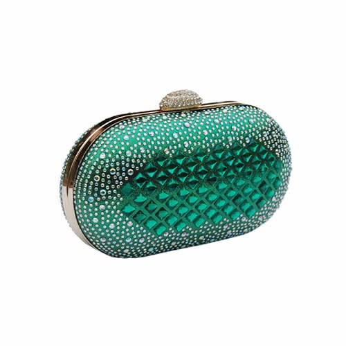 many styles innovative design bright n colour Green Stone Embellished Clutch Purse