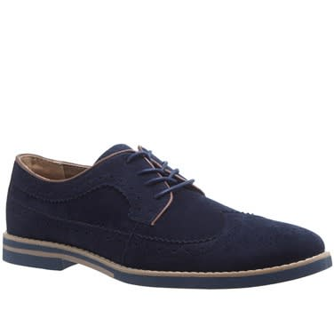 Navy Blue Suede Brogue