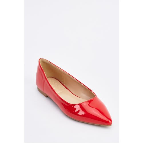 Women's Patent Pointy Toe Flats - Red
