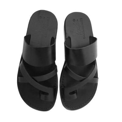 6e536baff48 Men's Cross Design Leather Slippers - Black
