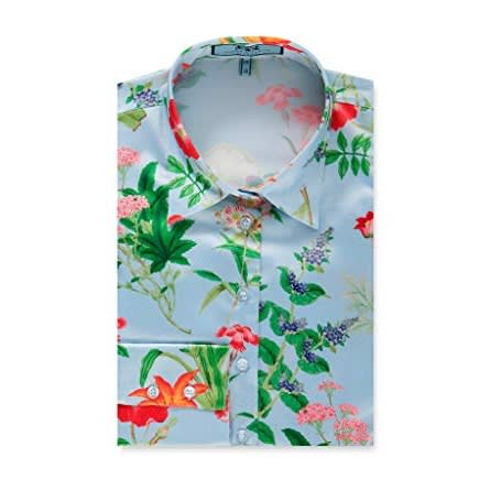 95ec2468720744 Hawes & Curtis Women's Light Blue & Pink Floral Fitted Satin Shirt ...