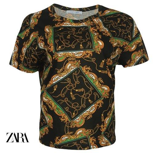 3d51a1d2e Zara Womens Paisley Print Tee - Black/green   Konga Online Shopping