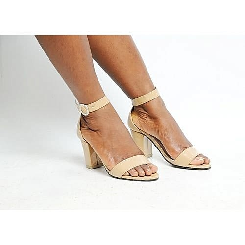 004b9c4b86f Women's Ankle Strap Sandals With Moderate Block Heel -nude