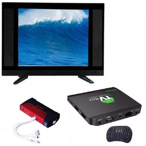 "24"" LED AC DC TV + Powerbank + Android Smart TV Box"