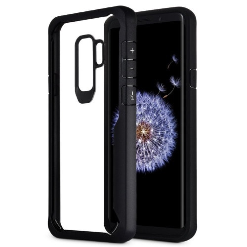 brand new 6a8c6 50639 Defender Protective Clear Back Case for Samsung Galaxy S9+ - Black