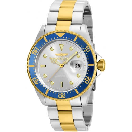 22061 Men's Pro Diver 3 Hand Silver Dial Two-tone Watch