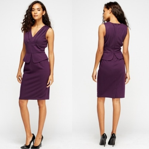 Low Neckline Peplum Purple Dress