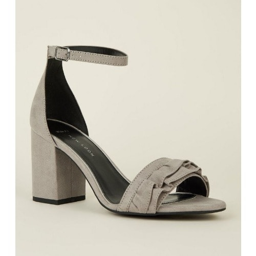 6ccd55e874b New Look Wide Fit Grey Suedette Frill.