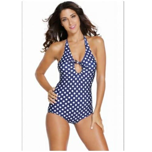 cc9ca5b324 Halter Neck Polka Dots Swimsuit - Navy Blue & White