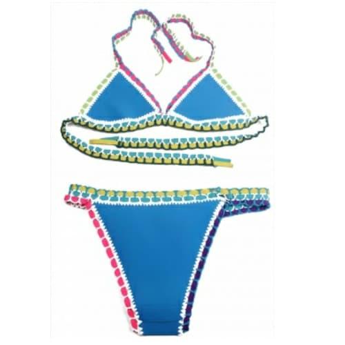 Handmade Crotchet Neoprene Bikini Light Blue Konga Online Shopping