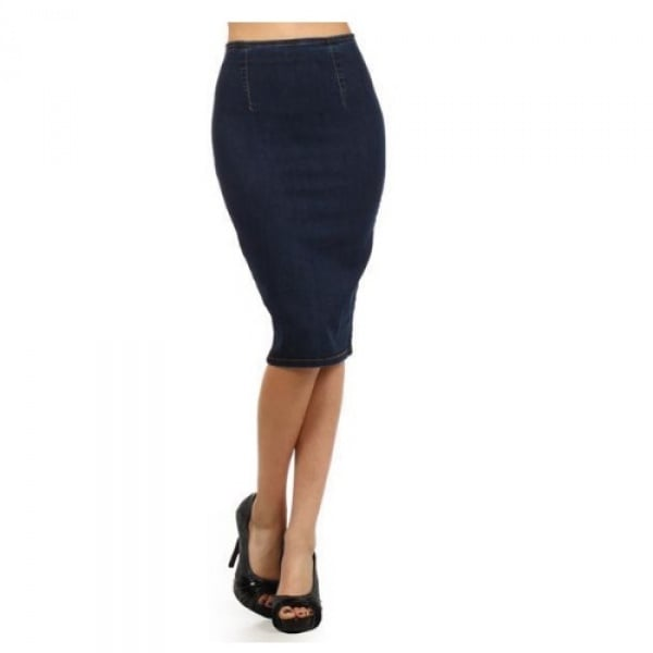 efd824237ba High Waist Stretch Pencil Jeans Skirt-Deep Blue
