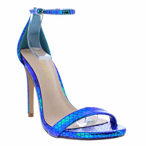 2c9cc96ec7c7 Liliana Holographic Snakeskin Ankle Strap Heels - Green