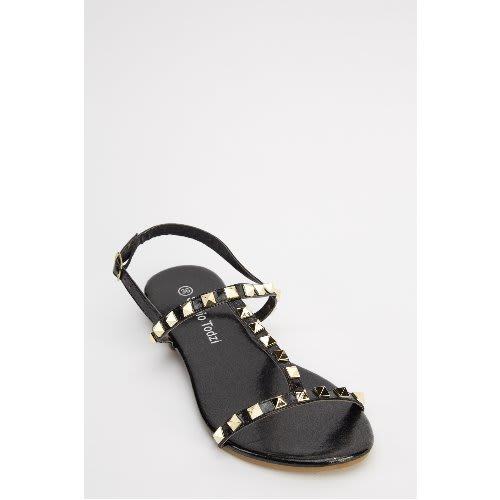 23a5b59fb Sergio Todzi Ladies Black Spike Studded Flat Sandals
