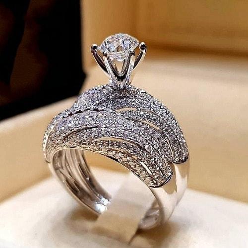 Diamond Engagement Ring/wedding Band Set For Women.