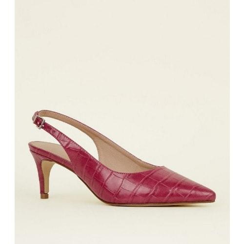 53d0a8ffd5f0c Bright Pink Faux Croc Kitten Heel Slingbacks   Konga Online Shopping