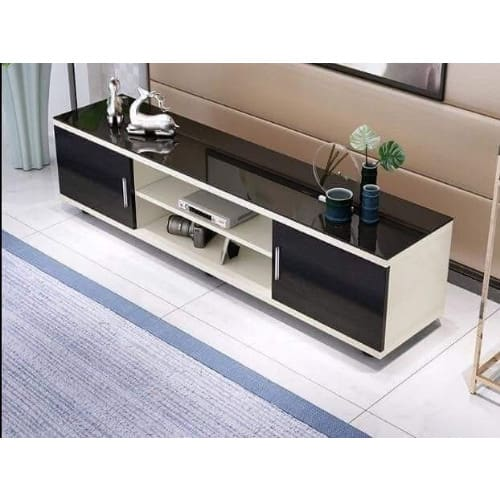 Suspended Thick Glass Top Tv Stand With - White Gloss & Wenge