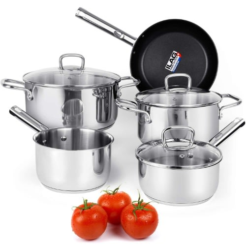 Cookware Set Stainless Steel Pots And Pans Sets With Nonstick Coated Skillet 8-piece.