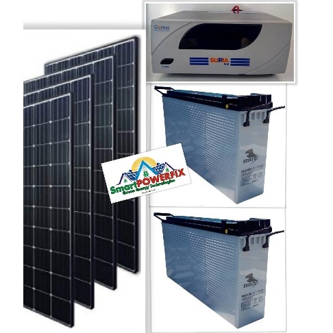 Solar Powered 1.5kva Inverter Installation With 2 Batteries And 4 Panels