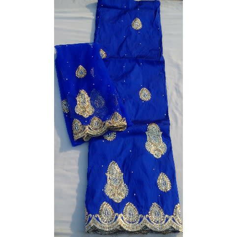 d9df27b1a1a140 Royal Blue & Gold Indian Lace George With Blouse - 7 Yards | Konga ...