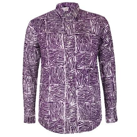 bfb33d20c8a97 Men's Adire Batik Shirt - Purple & White
