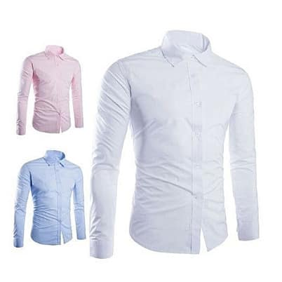Men's Shirt - Sky Blue, White & Pink - 3 Piece Set