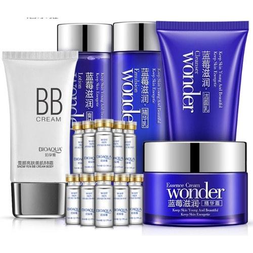 Bioaqua Blueberry Wonder Face Moisturizing, Essence Cream, Lotion, Facial Cleanser Skin Care Set