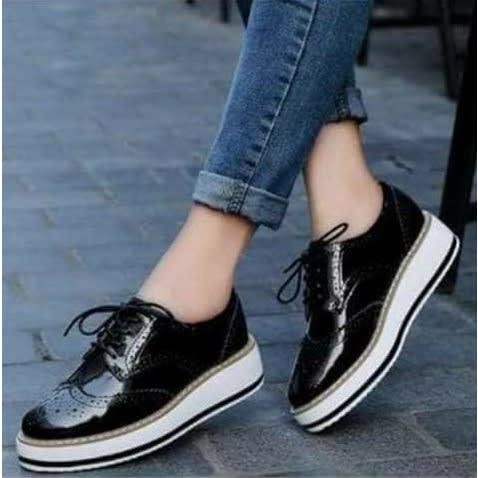 Ladies Patent Leather Sneakers - Black