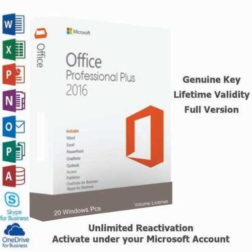 Office 2016 Professional Plus 20 Windows Pcs Dvd + Volume License