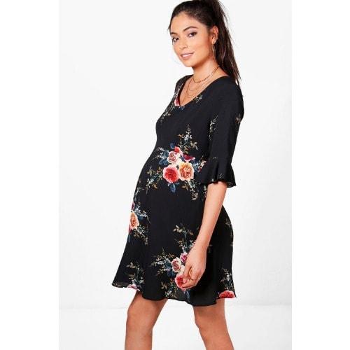 53d41d221b5 Maternity Ruffle Hem Skater Dress