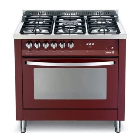 Prg96g2g - 90x60 Cms Burgundy Red 5 Burners Semi Professional Cooker.