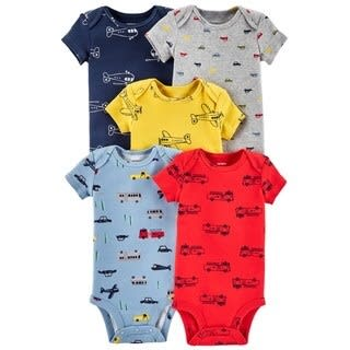 Aeroplane And Automobile Designed 5 In 1 Set New Born Baby Boys Bodysuits