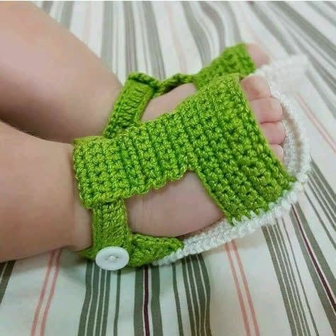 13e5fcadbf8de Crochet Baby Boy Sandals- Green