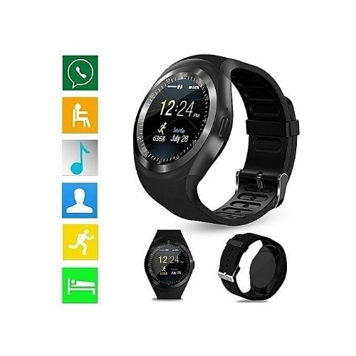 Y1 Smartwatch With Sim Card And Memory Card Space For All - Black