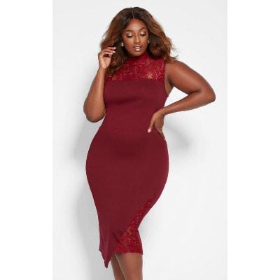 475fb4b13b8 Ashley Stewart Mock Neck Plus Size Lace Dress