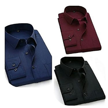 Men's Shirt - Navy Blue, Wine & Black - 3 Piece Set