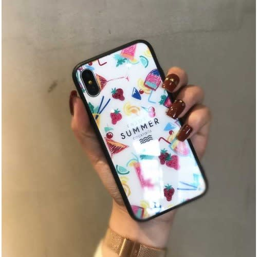 Flower Print Multicoloured Tempered Glass Case iPhone 7 Plus