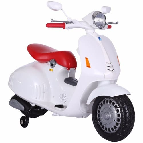 Kids 12v Ride On Moped Classic Retro Vespa Style Scooter with Stabilisers