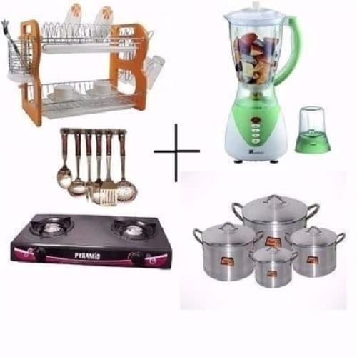 Kitchen Bundle Rack Gas Cooker Pot Blender Cooking Spoon Set