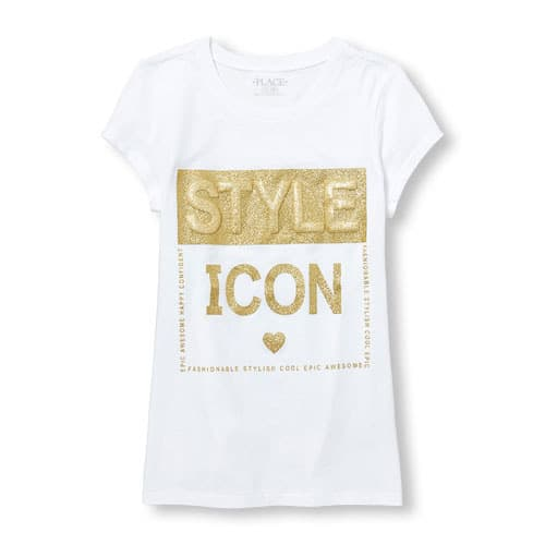 d3b958f10 The Childrens Place Girls Short Sleeve Glitter 3D Graphic Tee ...