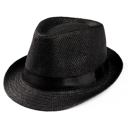 2d9c47f71 Men's Straw Fedora Hat - Black