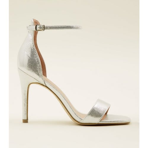 3f713e0fd88b New Look Silver Shimmer Ankle Strap Mid Heel Sandals
