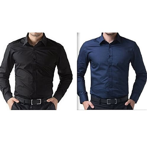 Men's Shirts Bundle - 2 Packs - Black & Navy Blue
