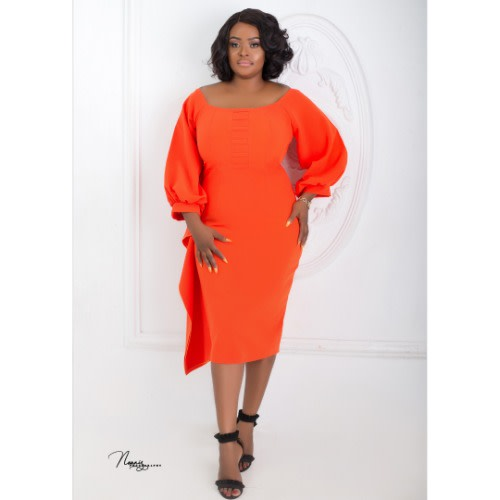 Lilian Plus Size Dress - Burnt Orange