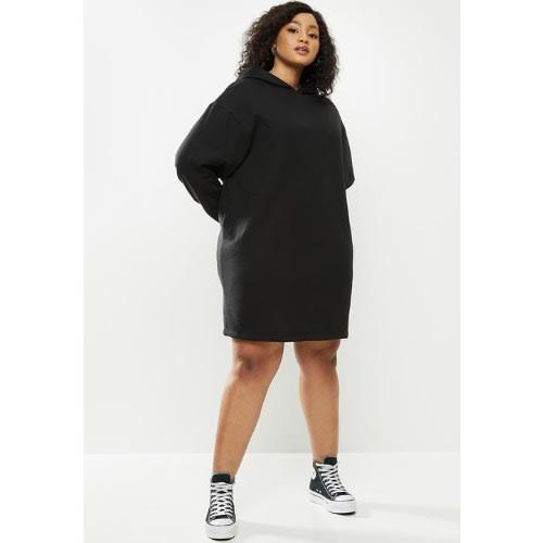Women's Black Hoodie Gown Sweatshirt.