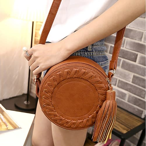 Woman Round Adjustable Braided Tassel Bag-brown.
