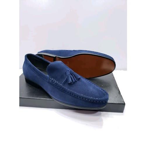 Men's Blue Suede Tassel Loafer + Free
