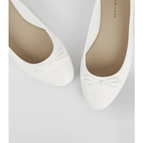 6126694098 New Look Wide Fit White Square Toe Ballet Pumps for Ladies | Konga ...