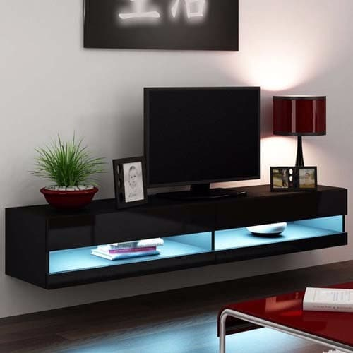 Tremendous Led Wall Tv Stand Black High Gloss Download Free Architecture Designs Scobabritishbridgeorg