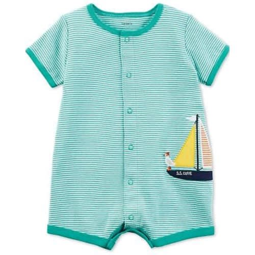 Blue Colored Boat Inspired Romper For Baby Boy