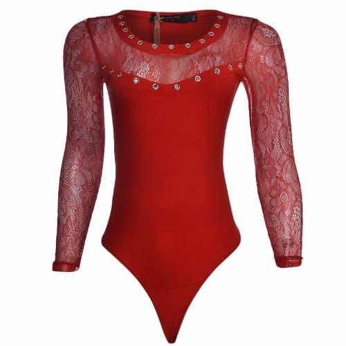 Canill Short Sleeve Drape Bodysuit Blouse - Cream red Floral  883082e57